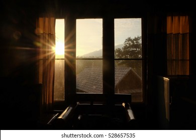 The morning light at the window in the winter day