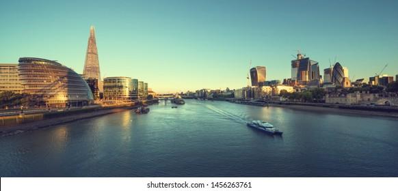 morning in London, river Thames from Tower Bridge, UK