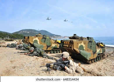 The morning of March 31, 2014, East Sea Coast at the Ssangnyong exercise in the Republic of Korea, ROK marine corps and U.S. Marine Corps amphibious assault training together.