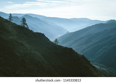Morning mist above valley between silhouettes of mountain slopes on horizon in backlighting. Blue glow in cloudy sky. Forest on mountainside. Atmospheric mountain landscape of majestic nature.