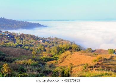 Morning mist at Khao kho, Thailand
