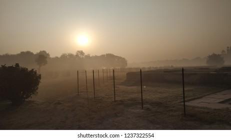 morning mist at Mehtab Bagh near Taj Mahal