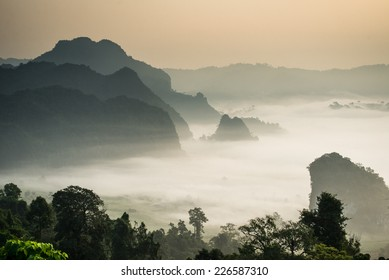 Morning mist and moutain At Phu Lang Ka, Phayao, Thailand