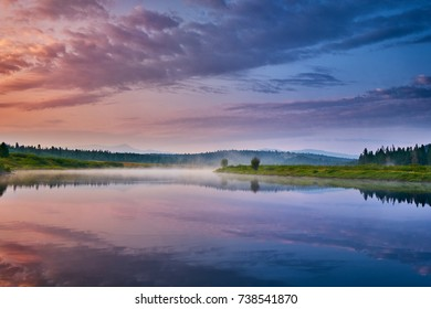 Morning mist over the Snake River at Oxbow Bend, Grand Teton National Park, Wyoming