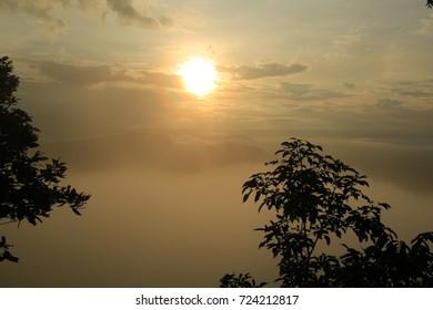 The morning mist  at   PHA MOR E DANG    , Kantharalak , Sisaket,Thailand :An image of a nice misty scenery