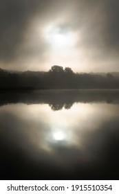 morning mist sunrise  black and white