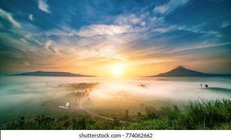 Morning mist sunrise at khao takhian ngo view point khao kho Phetchabun Thailand