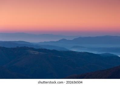 Morning mountain layers
