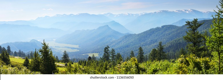 Morning in the mountains, beautiful mountain valley, panoramic image