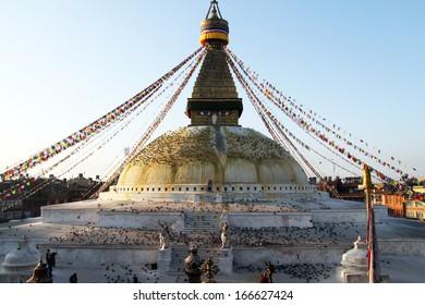 Morning nd stupa Bodnath in Kathmandu, Nepal