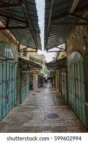 Morning at the old city street with closed shop windows in Jerusalem Israel..