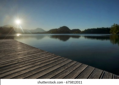 Morning on Beautiful Lake Bled in Summer Time, Slovenia