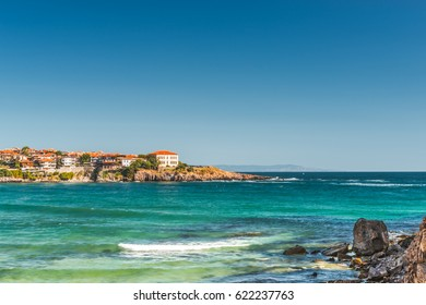 Morning on the Black Sea in Sozopol, Bulgaria.  View of the bay on the Black Sea in the town of Sozopol.