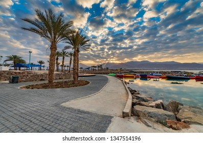 Morning on central public beach of Eilat - famous tourist resort and recreational city in Israel and Middle East