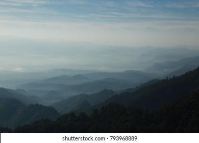 Morning on The High Mountain Misty Winter Season Thanonthongchai Haze Chiang mai Thailand Beauty landscape