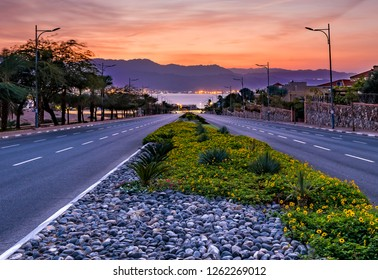 Morning on the longest street in Eilat - famous tourist resort and recreational city in Israel