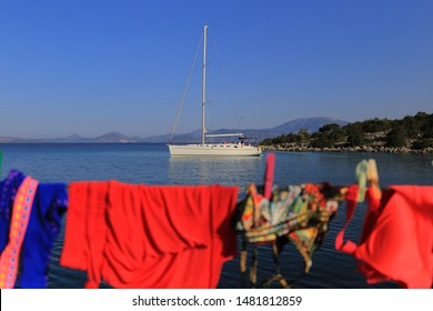 Morning on sailing yacht. Underwear drying on sailing yacht. Yacht week trip