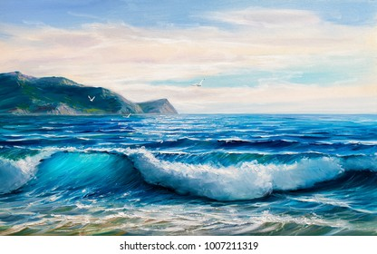 Morning on sea, wave, illustration, oil painting.