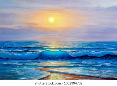 Morning on sea, wave, illustration, oil painting on a canvas.