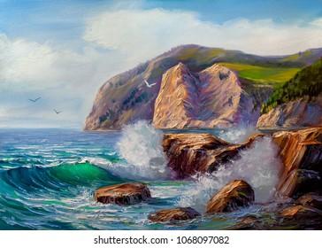 Morning on sea, wave, illustration, painting .