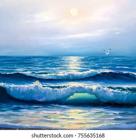 Morning on sea, wave, illustration, painting acrylic paints on a canvas.