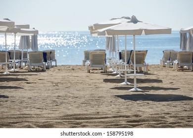 Morning on Sunny beach resort shore, Bulgaria