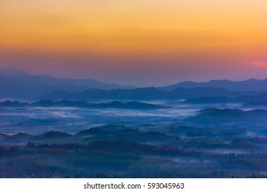 in the morning over foggy tropical forest, on Viewpoint Phang Nga, Thailand
