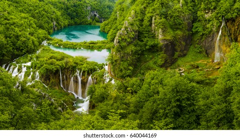morning over waterfalls in Plitvice park, Croatia