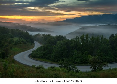 Morning over winding country road, Appalachian Mountains