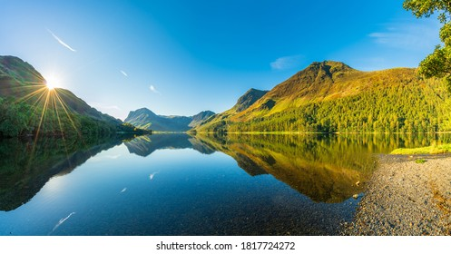 Morning panorama of Buttermere lake in the Lake District. England