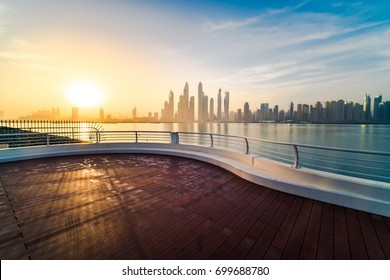 Morning Panorama of Dubai marina at sunrise, UAE