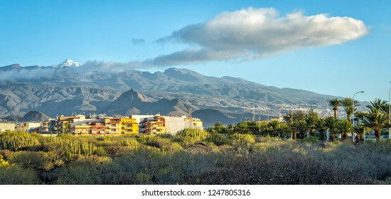 Morning panorama landscape on Tenerife mountains with snowy volcano