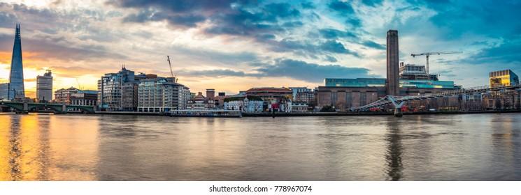 Morning panorama of London bankside district including Millenium bridge