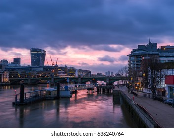 Morning panorama of London skyline near Southwark bridge