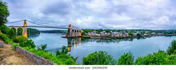 Morning panorama of Menai Bridge and Swells river in North wales