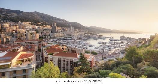 Morning panorama over port Hercule in Monaco