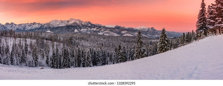 Morning panorama of snowyTatra Mountains, Poland