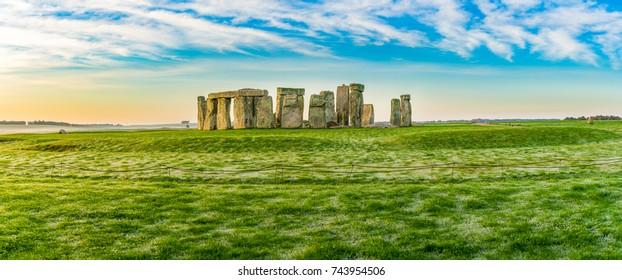 Morning panorama of Stonehenge in winter England
