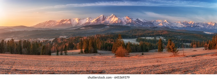 Morning panorama of Tatra Mountains in early spring, Poland