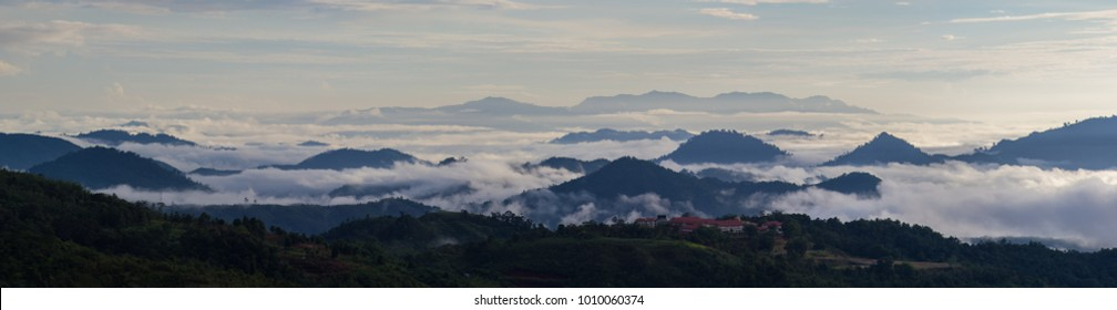 Morning Panorama,mountain,layer of hill and misty. Taken at Sabah Borneo