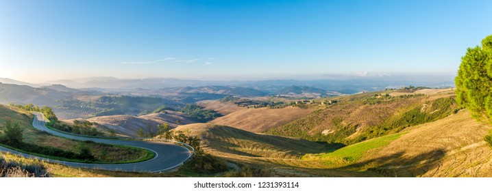 Morning panoramic view at the countryside near Volterra in Tuscany - Italy