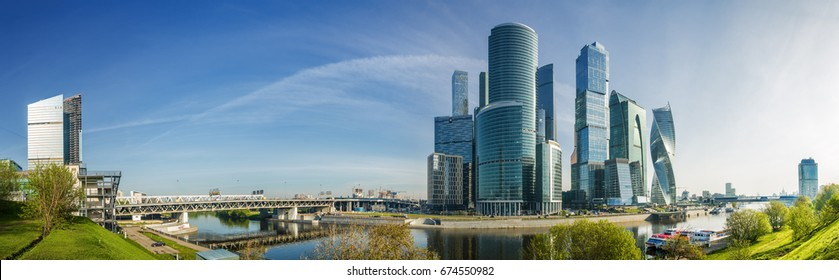 Morning panoramic view of Moscow-City - International Business Center, Moscow , Russia.