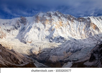 Morning panoramic view of Mount Annapurna from Annapurna south base camp, Nepal