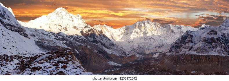 Morning panoramic view of Mount Annapurna 1 from Annapurna south base camp, Nepal Himalayas mountains, rouns Annapurna circuit trekking trail