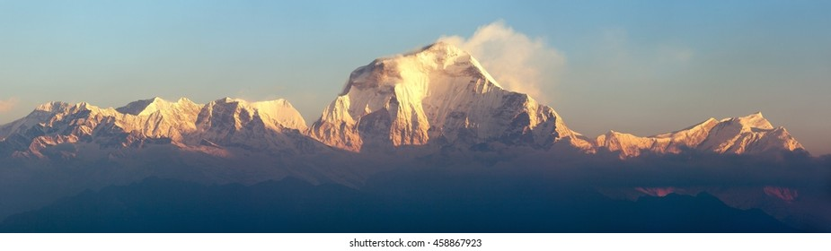 Morning panoramic view of Mount Dhaulagiri from Poon Hill view point, Nepal