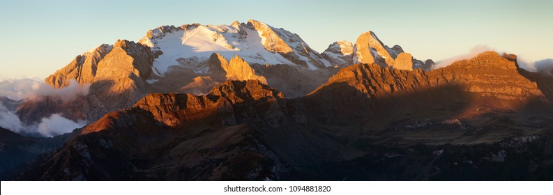 morning panoramic view of mount Marmolada, South Tirol, Alps Dolomites mountains, Italy