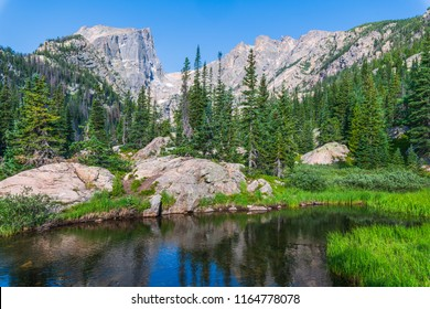 A morning photo of Hallett Peak in Colorado Rocky Mountain National Park
