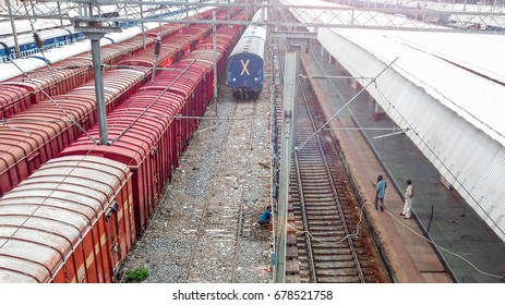 A morning photograph of a rail yard of Kanpur Railway Station, India
