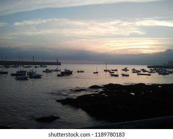 Morning photography with boats at the sea waiting to go fishing. Ready to use for digital art and photomanipulations