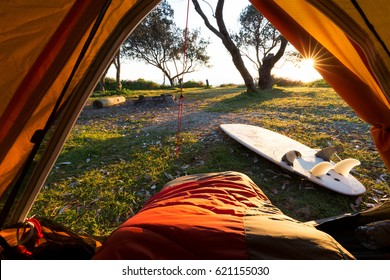 Morning Point of View from a Tent on a Surf Hike